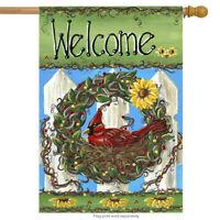 "Welcome Nest Fall Wreath House Flag Primitive Decorative Cardinal 28"" x 40"""