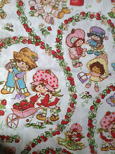 Strawberry Shortcake Twin Flat Bed Sheet 1980 American Greetings 67x93 fabric