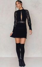 For Love & Lemons Lola Rose Plunging Lace-Up Ruffled Black Mini Dress XS $252