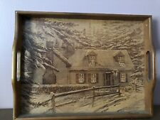 "Vintage "" House of Lloyd "" Wood Wooden Serving Tray Cabin in the Woods Scene"