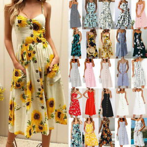 Summer Ladies Dress Midi Sundrs Holiday Cami Floral Beach UK Womens Boho Strappy