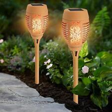 2 X Solar 36 LED Dancing Flame Torch Stake Light Flickering Garden Lights Beige