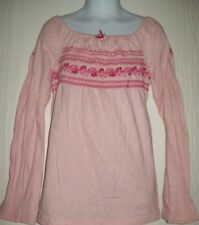 Faded Glory Girls Top Size 7 8 Pink Smocked Babydoll Embroider Back to School