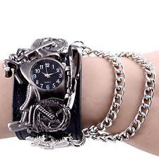 Gothic Punk Biker Motorbike Chain Quartz Wrist Watch Leather Cuff Bracelet Watch