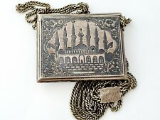 Antique Ottoman Turkish silver niello necklace  hamayil