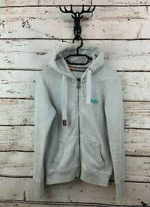 SUPERDRY Womens Hoodie Jacket S Small Grey Cotton Polyester
