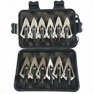 12PCs Hunting Stinger Broadheads 4 Blade 100Grains 2 Sawtooth Blade Compound Bow