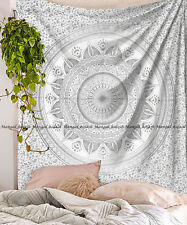 Indian silver ombre cotton mandala wall hanging ethnic queen tapestry bedspread