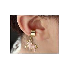 Stylish Fashionable Punk Gothic Gold Alloy & Pink Unicorn Ear Cuff (1552)