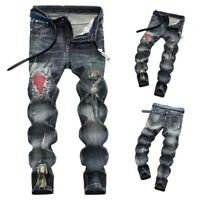 Mens Fashion Ripped Biker Jeans Slim Retro Distressed Denim Pants With Patches