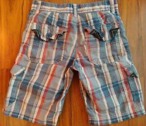 Euc Levis Boys Shorts Blue/red Plaid 8 Regular