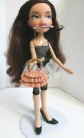 BRATZ DOLL LONG AUBURN HAIR TOP NET SKIRT NAVY TIGHTS BLACK HIGH HEELS & BAG