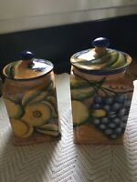 Mayolica Contreras Mexican Pottery Canister Set Two Piece Fruit Handpainted Art