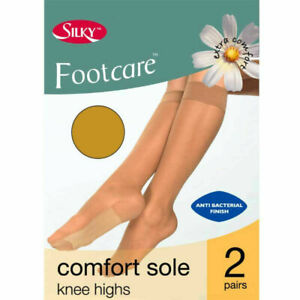 2Pr Silky Sheer Knee Highs COMFORT SOLE Footcare Comfort Top Pop Trouser Socks