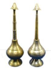 19c Antique Brass Hand Carved rose water bottle pair of 2 bottles. G71-27 US