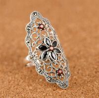 A01 Ring Silber 925 Blume mit schwarzem Achat Markasit größenverstellbar