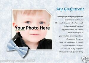 GODPARENT christening gift   (Laminated Poem Gift) *YOUR PHOTO PRINTED** Blue
