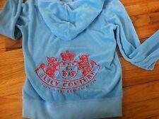 Juicy Couture Logo Zipper Hoodie Terrycloth Hoodie Sweatshirt Top -sz M Red/Blue