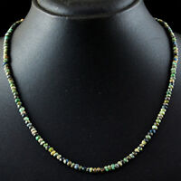 65.00 Cts Natural Round Shape Turquoise Faceted Beads Single Strand Necklace