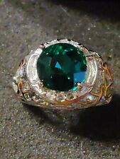 Size 7 Green Emerald Stone Set In  A Solid Sterling Silver Ring