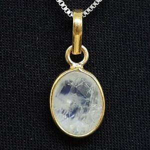 World Class 2.25ctw Moonstone 14K Yellow Gold 925 Sterling Silver Pendant