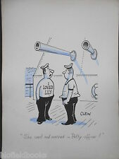 "CLIFFORD C LEWIS ""CLEW"" Original Pen & Ink Cartoon - Tattooed Sailor/Navy #135"