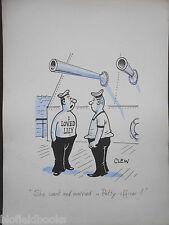"CLIFFORD C LEWIS ""CLEW"" Original Pen & Ink Cartoon - Tattooed Sailor/Navy #135"