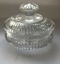 Fine Antique Cut Glass Powder Bowl / Jam Pot with Lid in Heavy Cut Lead Crystal