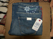 REPLAY WOMENS/GIRLS JEANS SHEESTON,NEW,27W 34L,EMROIDERED FLOWER DESIGN,rrp£110