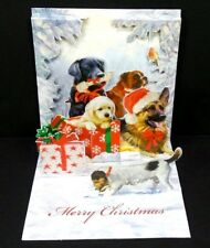 Christmas Dogs Pop Up Greeting Card 3D Puppies Presents Holiday Card Treasures