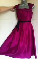 LK.BENNETT100%silk magenta dress pleated bodice full skirt sleeveless lined12VGC