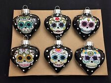 Sugar Skulls Decorated Glass Heart Christmas Ornaments - Set of 6