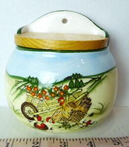Ceramic Wall Salt Box hinged Wood Lid  wheelbarrow of Flowers with Chickens