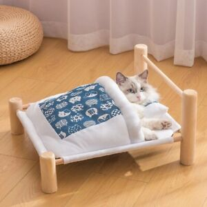 Pet Lounger for Cat Bed Removable Sleeping Bag Hammock Wooden Winter Warm Bed