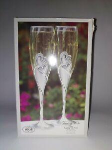 Hortense B Hewitt 10005 Sparkling love Flutes Brushed Silver Toasting Flutes