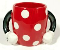 Disney Minnie Mouse Coffee Mug Polka Dot Arm Hand Handles Red White By Galerie