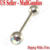 1206 Steel Gem Jewel Tongue Ring Barbell Bar Silver Iridescent Clear Pink Gold