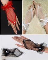 Mitaines Mariage Courtes Résille Dentelle - Blanc/Rouge/Noir - Gants Gloves