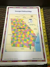 """Pristine 17""""X11"""" Laminated double sided Georgia Political Physical Map Houghton"""