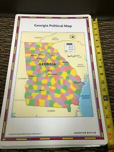 "Pristine 17""X11"" Laminated double sided Georgia Political Physical Map Houghton"
