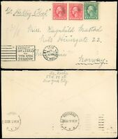 """1921 New York Cds Cover to KRISTIANA NORWAY, ms via """"S/S HELLIG OLAF"""", #528 Pair"""
