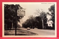 Postcard CT Litchfield Historical Marker Pierce Academy North Street Vtg Auto A6