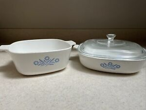 Lot Of 2 Vintage Corning Ware Blue Cornflower 1.5 Qt And 9in Dish W Lid