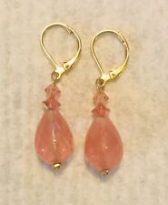 Watermelon Faceted Crystal Drop Earring w/ French Wires