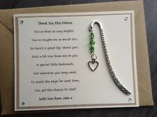 Thank You Teacher Personalised Poem Magnet Heart Bookmark. Assistant Nursery SVH