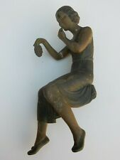 More details for statuete art deco girl seated ( made of spelter ) + tarnish  & wear as seen wine