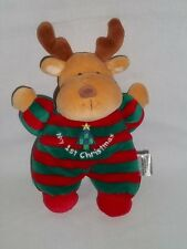 SOFT DREAMS Plush MY 1ST CHRISTMAS REINDEER Brown Deer RATTLES Baby First Toy