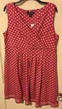 Lands' End pink and white geometric print knit fit and flare dress Size XLP
