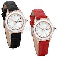 Women Charm Eiffel Tower Ceramic Rhinestone Dial Leather Band Quartz Wrist Watch