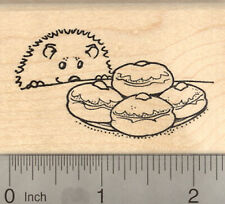 Hannukah Hedgehog Rubber Stamp with Cream Puffs H23009 Wm